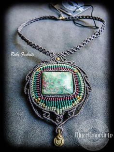 NEW!! Ruby Fuchsite Macrame Necklace. Ruby Fuchsite gemstone. Green Muscovite.Heart Chakra