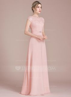 JJsHouse A-Line/Princess Scoop Neck Floor-Length Chiffon Lace Bridesmaid Dress With Beading Bow(s) Grey Evening Dresses, Pretty Prom Dresses, Pink Prom Dresses, Cute Dresses, Formal Dresses, Bridesmaid Dresses With Sleeves, Lace Bridesmaid Dresses, Yellow Wedding Dress, Special Occasion Dresses
