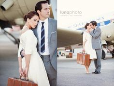 """Engagement session at LAX - """"'Vintage glam' written all over it."""""""