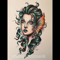 Loving this gorgeous tattoo by 🧜♀️ . Black Tattoos, Body Art Tattoos, Tattoo Drawings, Sleeve Tattoos, Traditional Mermaid Tattoos, Traditional Tattoo Design, Traditional Tattoos, Mermaid Tattoo Designs, Tattoo Mermaid