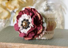 Burgundy Red Wrist Corsage Bracelet