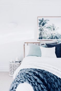 blue and white bedroom #home #style