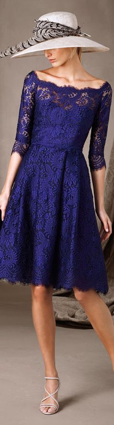 Pronovias 2017 blue lace dress women fashion outfit clothing style apparel @roressclothes closet ideas