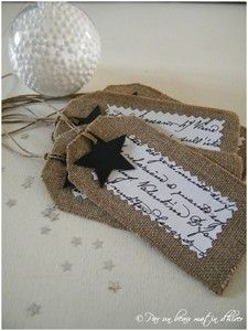 burlap tags -Gift Tags and Labels
