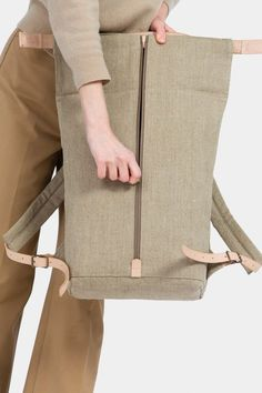 Thisispaper Atom Backpack Raw Natural – Thisispaper Shop Nylon Anti-theft Water-resistant Backpack, with stylish and chic design, goes well with any occasions, you will feel comfortable to carry it. Backpack Outfit, Diy Backpack, Handbags On Sale, Luxury Handbags, Backpack Pattern, Techniques Couture, Cool Backpacks, Fabric Bags, Fashion Bags