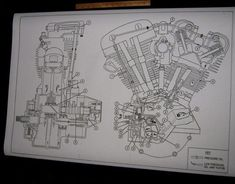 harley davidson shovelhead engine oil map blueprint drawing poster print fl  fx #diagram #harleydavidson