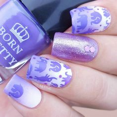 Purple stamping nail art, the color of 2018, more details shared in bornprettystore.com. Try it soon.
