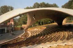 Theater with a concrete thin shell roof - Heinz Isler Theatre Architecture, Architecture Collage, Amazing Architecture, Architecture Details, Outdoor Stage, Outdoor Theater, Auditorium Design, Shell Structure, Open Air Theater