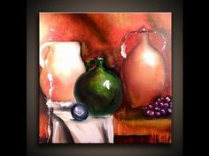 ▶ How to paint still life using acrylic paint on canvas modern art techniques by Peter Dranitsin. - YouTube