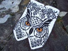 Knitting Patterns Mittens Ravelry: BIG Owl pattern by Natalia Moreva Knitted Mittens Pattern, Crochet Mittens, Knitted Gloves, Knit Or Crochet, Knitting Socks, Hand Knitting, Knitting Patterns, Owl Patterns, Wrist Warmers