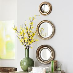 one of these over the bed? Aged Round Mirror