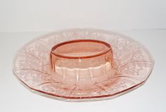 Vintage Fostoria Pink Versailles Oval Depression Glass Console Bowl | eBay