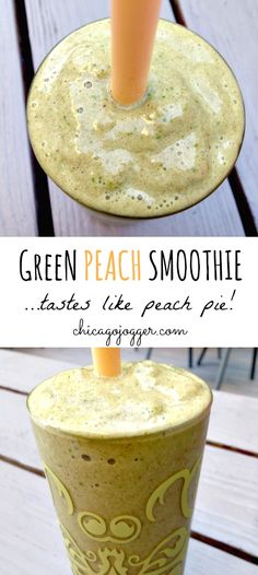 This Green Peach Smoothie is healthy enough for breakfast but tastes like dessert - inspired by a slice of peach pie. What inspires you? Healthy Breakfast Smoothies, Yummy Smoothies, Smoothie Drinks, Yummy Drinks, Healthy Snacks, Breakfast Recipes, Healthy Recipes, Fitness Snacks, Peach Smoothie Recipes