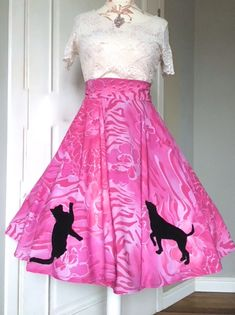 SHE IS ME  - Pink skirt with dog and cat together