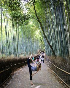 Natarajasana in the Bamboo Forest Kyoto Japan  #travel #explore #backpacking #adventure #yoga #yogagirl #natarajasana #dancer #grateful by pennylane_jla