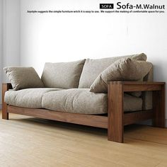 Walnut Walnut solid wood natural wood wooden frames covering Sofer high density polyurethane and feather, solid frame made sofa-sofa 3 P-SOFA-M pillow 2 the . Wood Frame Couch, Wooden Couch, Wood Sofa, Pallet Sofa, Diy Pallet, Simple Furniture, Sofa Furniture, Wooden Furniture, Furniture Design
