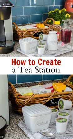 How to create a tea station: A tray is perfect for corralling sugar, honey and cream all in one place. Keep cute mugs close by, and all you have to supply is the hot water! Coffee Nook, Coffee Bar Home, Coffee Corner, Coffee Bars, Bar Station, Keurig Station, Tea Storage, Hot Chocolate Bars, Bar Drinks