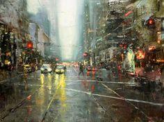 """Cityscapes"" by Hsin-Yao Tseng   http://ineedaguide.blogspot.com/2015/03/hsin-yao-tseng.html #art #paintings"