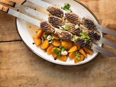 Grilled Beef Kebabs with Pickles Persimmons