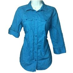 Blue Button Down Worn once in great condition, 3/4 length sleeves that can be folded up or down. This is a pic of the actual item, I removed the background. St. John's Bay Tops Button Down Shirts