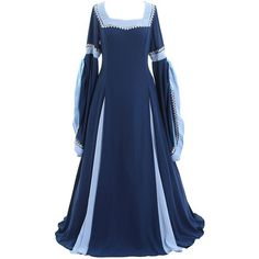 CosplayDiy Women's Deluxe Medieval and Renaissance Costume Dress ($67) ❤ liked on Polyvore featuring costumes, blue halloween costumes, lady halloween costumes, ladies halloween costumes, womens costumes and deluxe halloween costumes