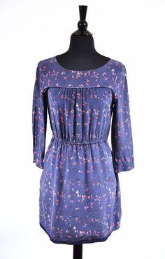Madewell Blue Silk Birdslife Print Women's 3/4 Sleeve  Day Dress Size 2 #Madewell #Casual