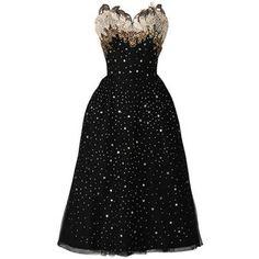 Pre-owned Vintage 1950's Rudolf Stars Rhinestones Cocktail Dress