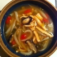 Copycat PF Changs Chicken Noodle Soup  Made with broth, soy, brown sugar, sriracha, lime and ginger