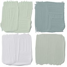 """Clockwise from top left. """"Pale Powder has a chameleon aspect to it: It looks green, blue or grey in different lighting."""" — Michael Penney Pale Powder 204, farrow-ball.com. This watery grey-blue takes you back to your last seaside vacation—a really sexy, sultry colour that appeals to both women and  Gray Wisp CC-670, benjaminmoore.ca. Gentle Violet 4002-3A,"""
