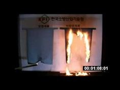 Comparative test of flame retardant finished fabrics and normal fabrics by flame exposure - YouTube
