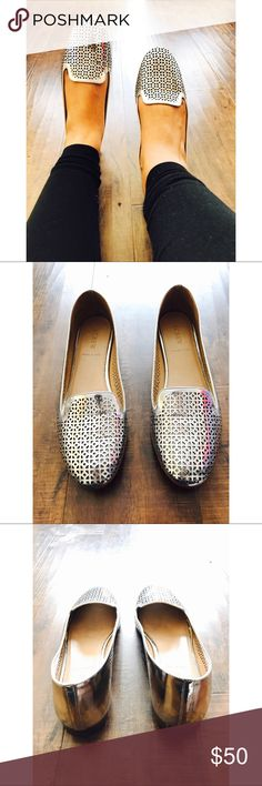 J. Crew Cleo perforated mirror metallic loafers J. Crew - Size 8.5- Cleo perforated mirror metallic loafers.       - A feminine spin on the classic gentleman's smoking slipper. We recast it in a slimmer, more flattering silhouette in our signature prints and colors. This pair's made from a custom-created, perforated metallic leather.  Metallic leather upper. Leather lining. Made in Italy. Item A2410. J. Crew Shoes Flats & Loafers