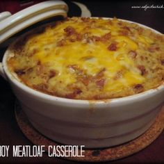 Cowboy Meatloaf Casserole: meatloaf baked on the bottom then topped w cheesy bacon mashed potatoes