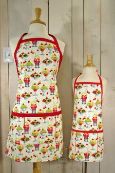 Ice Cream Social Mommy and Me kid size Apron by luckyduckydesigns, $67.00