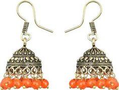 Waama Jewels Elegant Pair Of earring Adorned With Orange Pearls Pearl Brass Jhumki Earring
