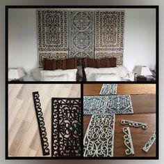Hoofdbord gemaakt van geknipte rubberen matten. Geverfd en daarna op houten panelen geplakt.
