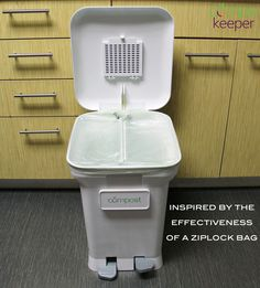 The CompoKeeper offers quadruple-action odor control. With 1) the bag sealed, 2) holes for improved air circulation, 3) an odor absorbing carbon filter and 4) a stylized lid - the stench of #compost is under control and #fruitflies are left looking for another party to crash.  #compost #composting #kitchen #fresh #clean #odorfree #easy #organic