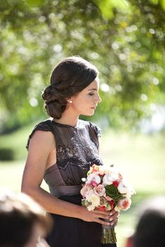 Gorgeous black and purple bridesmaids dress