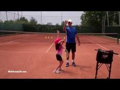 Tennis Lesson with Little Kids (no. 16) - In this lesson I teach my 7 year old daughter groundstrokes placement, slice serve, volley technique and transition to the net. Full lesson only at WebTennis24.com.