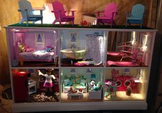 American Girl Doll House! Made for under $200 including structure, lighting, paint, wall decor and windows.