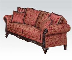 Acme Furniture Fairfax Collection 50330 93 Inch Sofa with 6 Pillows Included, Made in USA, Rolled Arms, Loose Seat Cushions, Decorative Wooden Trim and Fabric Upholstery in Momentum Magenta Color Fabric Sofa, Traditional Couch, Luxury Sofa, Love Seat, Upholstered Furniture, Furniture, Sofa Design Wood, Royal Sofa, Acme Furniture