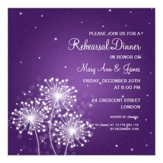 Wedding Rehearsal Dinner Summer Sparkle Purple Card