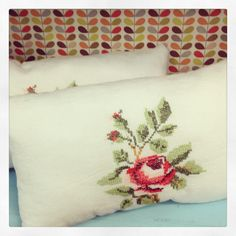 gemmipop vintage embroidered rose cushions £5.00 each in my stall, contact me for details!
