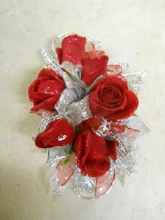 Red & Silver Prom Corsage