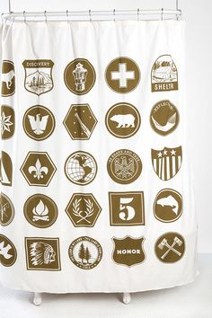 """Scout"" shower curtain from Urban Outfitters.  I could see this working in the boys' bathroom!"