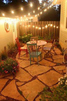 Pretty & cozy patio with fairy lights
