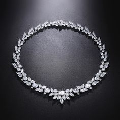 aac7660d04d543 This beautiful cubic zirconia diamond necklace is individually handcrafted  with sparkling marquise cut cz diamond setting