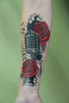 Arm Microphone Flower Realistic Tattoo by Skin Deep Art