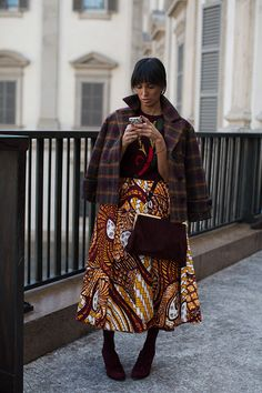 The Sartorialist Captures A Stylish Moment In Piazza Duomo Milan Love The Patterned Skirt Pattern Observer