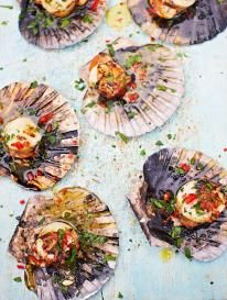 DJ BBQ's scallops With chilli garlic butter This delicious, easy scallop recipe is perfect for barbecues – just place them on the coals and let the magic happen