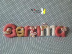 Nombre decorativo en fieltro. Gemma